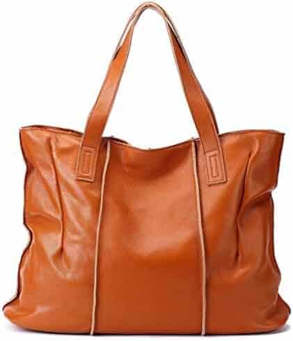 CLELO Womens Soft Leather Handbags Tote Shoulder Bag Designer Purses Large  Capacity d00083bdeb2e8