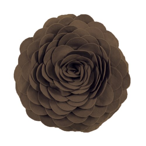 Throw Pillow Chocolate (Eva's Flower Garden Decorative Throw Pillow. 13 Inch Round. (Chocolate, One Size))