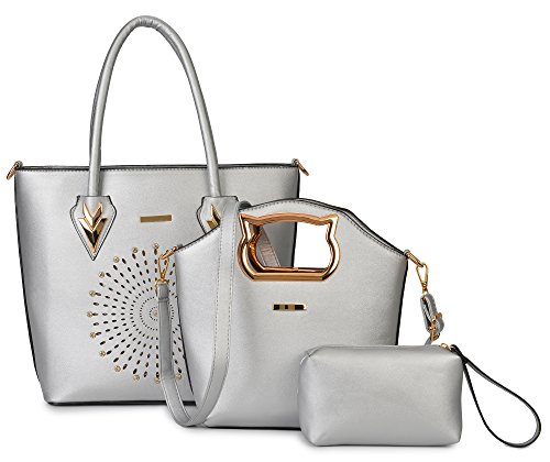 Messenger Handbag Sliver 3 Purse Women Piece Satchel Set Hobo Bag Leather Bag Gift Faux Clutch qFw6Xrd4wx