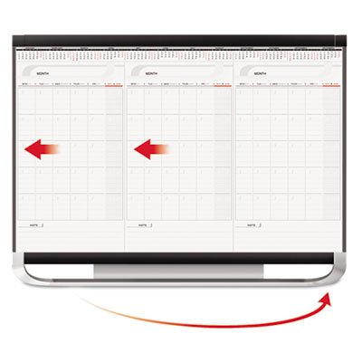 Prestige 2 Connects Total Erase 3-Month Calendar, 36 x 24, White, Graphite Frame, Sold as 1 Each