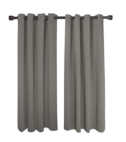FY-Living Microfiber Solid Woven Blackout Curtains with Grommets, Two Panels, 52″ x 63″, Grey