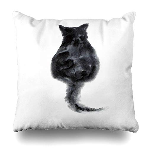 Ahawoso Throw Pillow Cover Vintage Head Watercolor Fluffy Cat Sits Back Eyes Pets Pen Sketch Body Cute Domestic Design Horoscope Home Decor Cushion Case Square Size 20