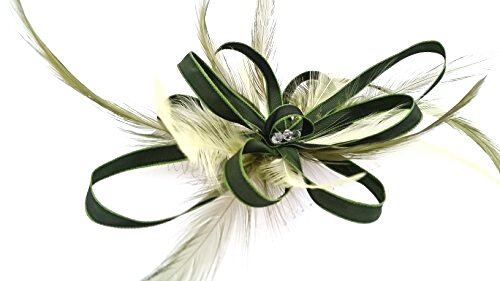 Olive and Sage Green Feathers Hair comb Fascinator  Amazon.co.uk ... a6237f17e59
