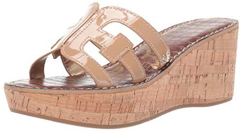 Sam Edelman Women's Regis Heeled Sandal, Almond Patent, 8 M - Wedge Platform Leather Patent