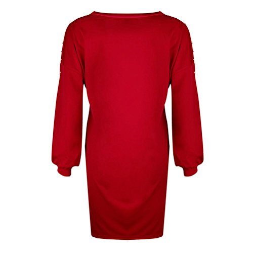 Casual De Cou Lâche Robe Mini Rouge Dame Soiree Longues Mesdames Longue O Perles Femmes Mode Solide Manches Robe Cinnamou w1qpEq