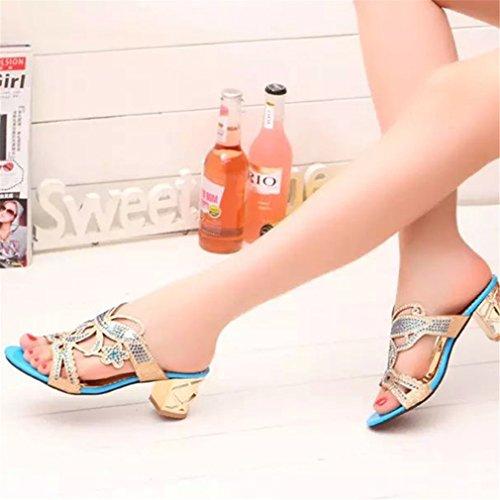 Tongs Talon Flip Noir Bleu Lumino Haut 5 Blue D'été Chaussures Slip Pantoufle Femmes Sky Femmes Noir Flops Strass Sur PwqOEYw