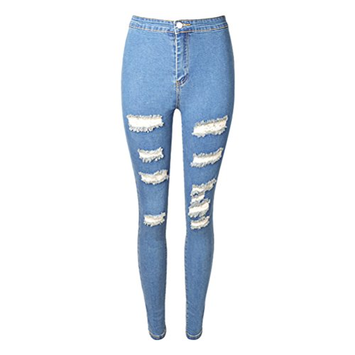 Blue Strappati Jean Slim Distressed Taglie Hole Zhhlaixing Washed Boyfriend For Light Pantaloni Donna Jeans Comode Skinny nZzgxnwq1