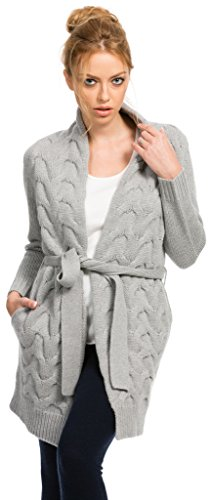 Merino Knit Long Cardigan - Citizen Cashmere Long Cardigan - Cable Knit (Grey S) 41 156WC-05-01