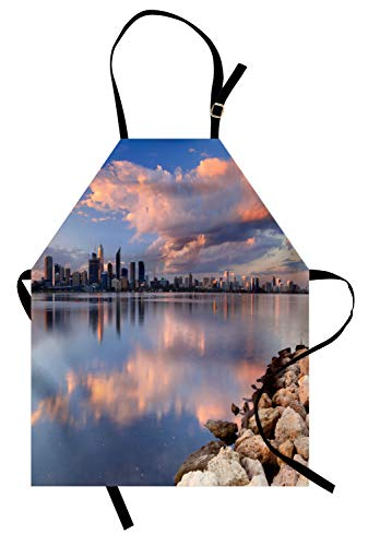 Lunarable Australia Apron, Skyline of Perth Photographed from Across The Swan River Blurred Reflection, Unisex Kitchen Bib Apron with Adjustable Neck for Cooking Baking Gardening, -