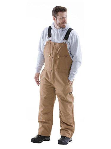 Refrigiwear Men's Arctic Duck Water-Resistant Insulated Bib Overalls (Brown, XL)