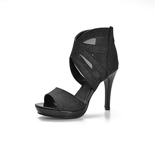 AgooLar Women's Open Toe Spikes Stilettos Solid Zipper Sandals Black fnKF6S7