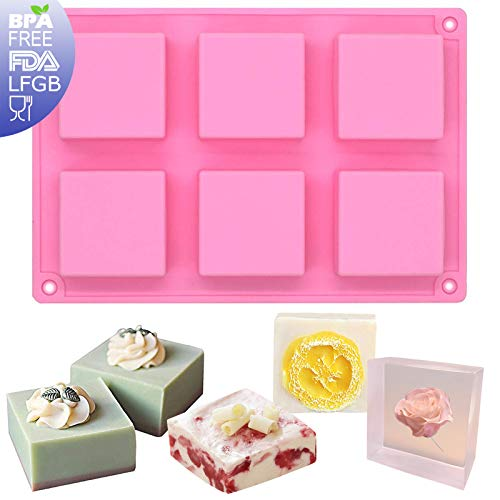 Funshowcase 6-Cavity Square Baking Silicone Mold for Cake Teacake Chocolate Desserts Cheesecake Cornbread Brownie Blancmange Pudding Soap Candle Making Resin Epoxy Casting Wax Crafting Projects