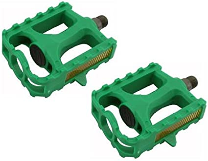 Mountain Bike Pedals Fiber Bicycle Flat Pedals(20 Spare Pins Included)Green