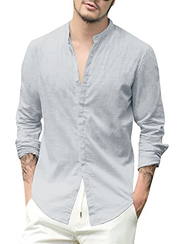 Enjoybuy Mens Linen Cotton Casual Long Sleeve Shirt Loose Fit Summer Beach Shirts,XX-Large,Grey