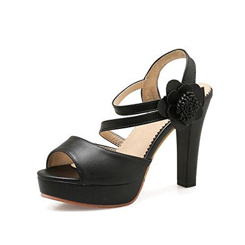 Sandalias nbsp;bloque amp;x Peep Toe Mujer De Tacones Qin Black 0RqW1n0