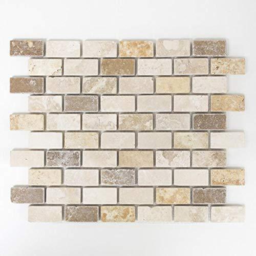 123mosaikfliesen Mosaikfliesen Fliesen Mosaik K/üche Bad WC Wohnbereich Fliesenspiegel Brick Travertin matt Boden 10mm Neu #K584