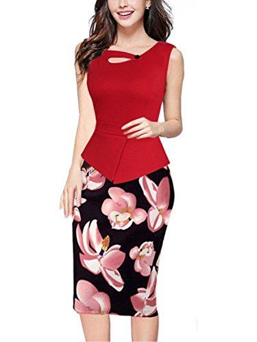 Babyonline Women's Voguish Colorblock Wear to Work Pencil Dress(Red,XL)