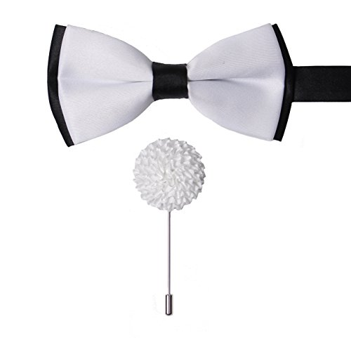 Levao Mens Formal Tuxedo Bow Tie Double Color Bowtie & Lapel Pin Set Boutonniere A White (White Tie Set Bow)