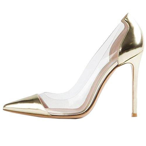 Lovirs Para Mujer Sexy Tacón Alto Con Punta En Las Bombas De Tacón De Aguja Vestido De Fiesta De Boda Zapatos De Oro