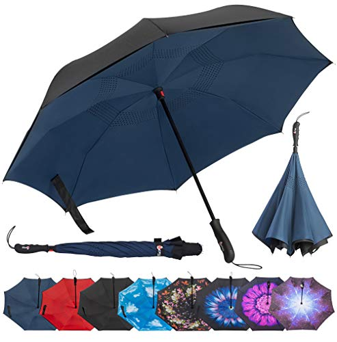 Repel Reverse Folding Inverted Umbrella with 2 Layered Teflon Canopy with Reinforced Fiberglass Ribs (Navy Blue) (Best Fold Up Umbrella)