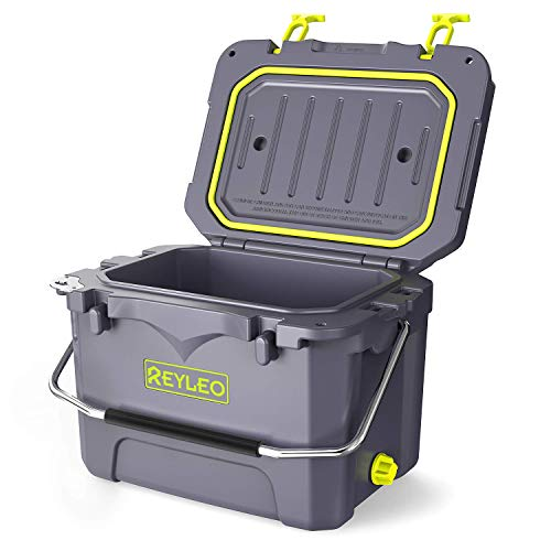 REYLEO Cooler, 21-Quart/20L Pro Guide Series Cooler, 30-Can Capacity, Up to 5-Day Ice Retention, Heavy Duty Ice Chest (Built-in Bottle Opener) for Camping, Fishing, and Extreme Adventure - A21