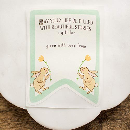 Baby Shower Bookplates Twin Bunny Book Plate Stickers Personalized Set of 10