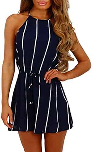 e1b34b555bcd Women Cute Striped Romper Jumpsuit Summer Casual Strap Off Shoulder  Sleeveless Beach Short Playsuit