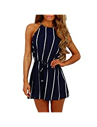 dd3f9ea24a4a Women Cute Striped Romper Jumpsuit Summer Casual Strap Off Shoulder  Sleeveless Beach Short Playsuit