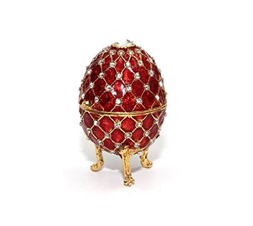 Faberge Egg Red, 4-inch Decorative Enameled 24K Gold Trinket Jewelry Box with Swarovski Crystal