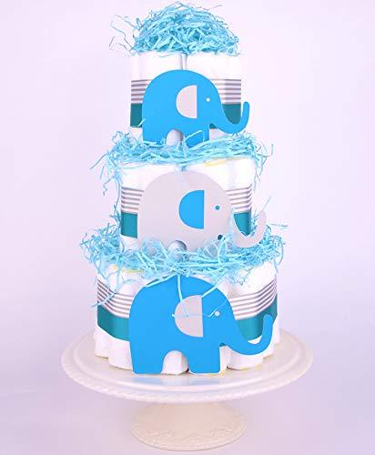 Éléphant Bleu Baby Shower gâteau de couches–garçons Chevron Gris Panier cadeau PureNappyCakes ENCB