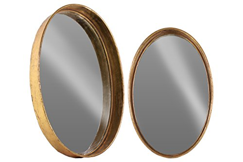 Gold Metal Wall Mirror: Urban Trends Metal Round Wall Mirror Set Of Two Tarnished