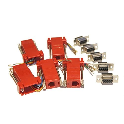 Pack of 5 Red DSub 9 Pin DB9 to RJ12 6p6c Modular ... Rj To Db Wiring Diagram on