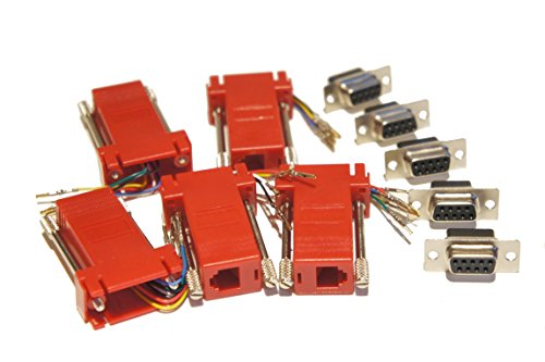 To Rj11 Db9 (Pack of 5 Red DSub 9 Pin DB9 Female to RJ12 6p6c Female Modular Connector Jack Serial Adapters)