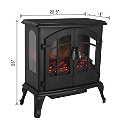 "MVPower 25"" Electric Fireplace Stoves with 3D Realistic Flame Effect, Portable 1500W Indoor Space Freestanding Heater with Overheating Safety Protection from MVPower"