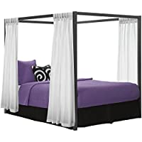 Bedroom Metal Queen Canopy Frame Modern Headboard Gazebo Furniture Framed Platform Sleek silhouette Sturdy metal frame construction Queen size bed assembled 84'W x 63'D x 72'H