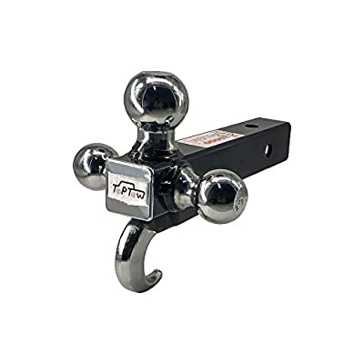 TOPTOW 64180 Trailer Receiver Hitch Triple Ball Mount with Hook, Chrome Balls, Fits for 2 inch Receiver, Hollow Shank: Automotive