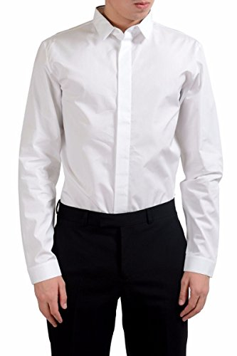 Dior Christian Men's White Long Sleeve Dress Shirt Size US 16 IT 41