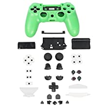 XFUNY(TM) Controller Plastic Front Back Housing Case Shell Cover Case Part Skin Cover Controller Grip Handle Replacement for Sony PlayStation 4 PS4 - Green