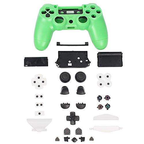 XFUNY® Controller Plastic Front Back Housing Case Shell Cover Case Part Skin Cover Controller Grip Handle Replacement for Sony PlayStation 4 PS4 - Green