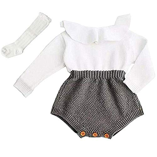 Askwind Baby Girls Romper Knitted Ruffle Long Sleeve Jumpsuit Baby Kids Girl Romper Autumn Winter Casual Clothing (Grey, 18-24 Months) ()