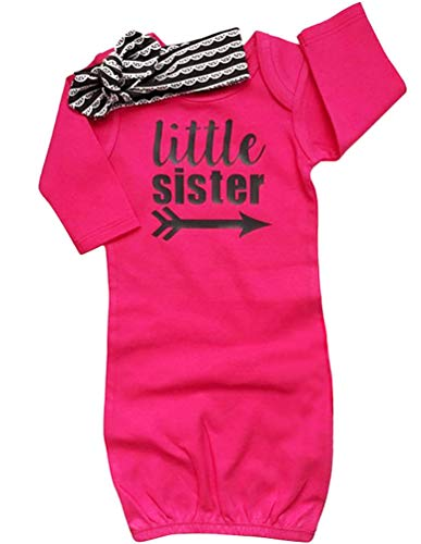 (COLOOM Newborn Baby Girl Take Home Outfit Baby Girl Gift Set Baby Gown Little Sister Sleepers with Headband)