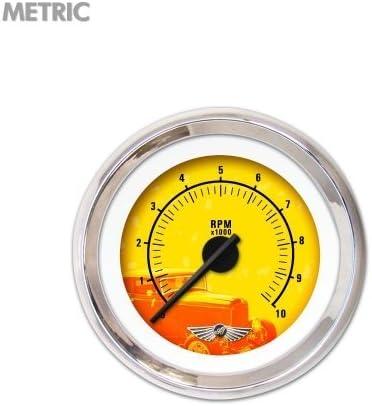 Black Modern Needles, Chrome Trim Rings, Style Kit Installed Aurora Instruments 6309 Puma 5 Series Tachometer Gauge with Emblem