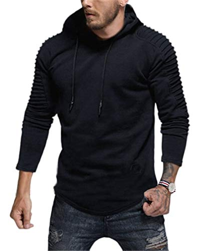 Lealac Mens Casual Pullover Hoodie Long Sleeve t-Shirt Sweater Slim fit Sweatshirt Jersey L181-Hoodie Navy S