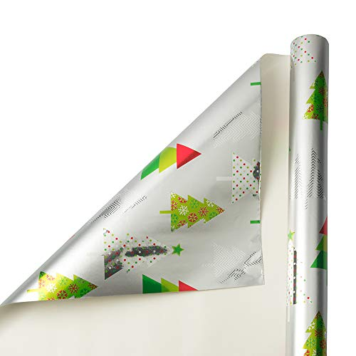 JAM PAPER Gift Wrap - Christmas Foil Wrapping Paper - 25 Sq Ft - Silver with Tree - Roll Sold Individually