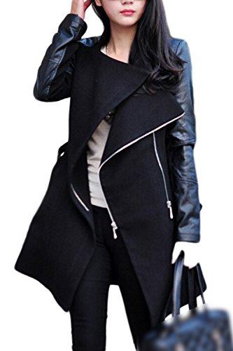 De Black Oblicua Plus Cremallera Tamaño Palangre La De PU Chaqueta Abrigo Patchwork Mujeres XEwt7x