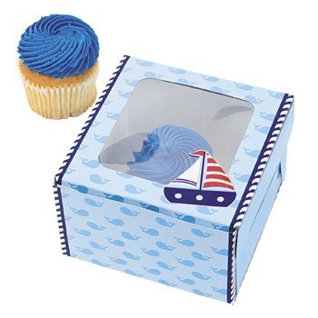 Nautical Sailor Cupcake Boxes - 12 (Nautical First Birthday Supplies)