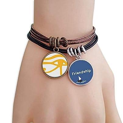 ProDIY Ancient Egypt Eye Decoration Pattern Friendship Bracelet Leather Rope Wristband Couple Set Estimated Price -