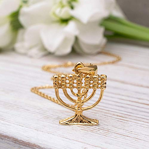 - 14K Gold Plated Chanukah Menorah Necklace - 14K Gold Plated over 925 Sterling Silver Menorah Pendant, Dainty Jewish Jewelry, Delicate Necklace, Menorah Gifts for Her Religious Jewelry for Women