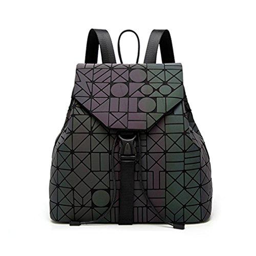 Las mujeres Mochila femenino Plaid geométrica Sequin hembra Mochilas para niñas adolescentes Drawstring Bag Mochila holográfico plateado láser Colorful Mixing