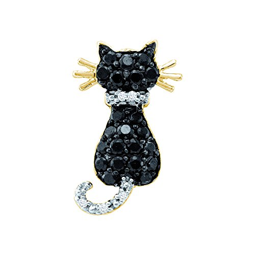14kt Yellow Gold Womens Round Black Colored Diamond Kitty Cat Feline Pendant (14kt Gold Cat Ring)